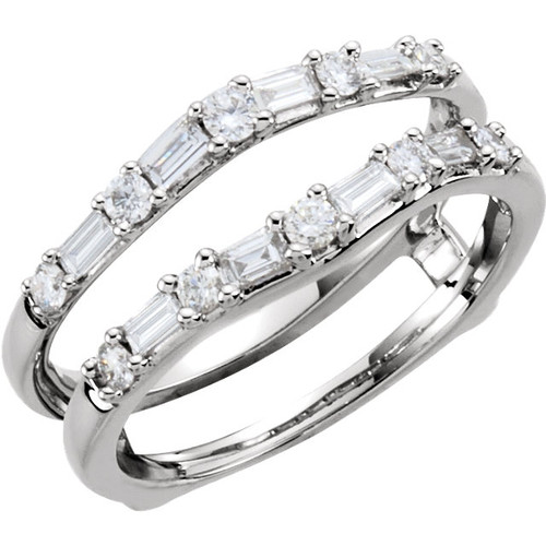 14K White or Yellow Gold Baguette and Round Diamond Drop in Guard 1/2CTTW