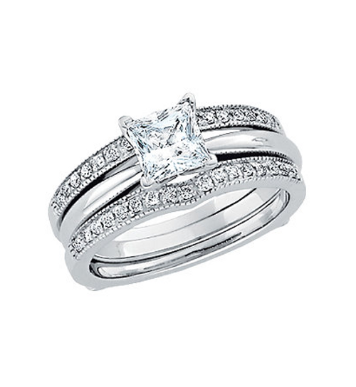 Pictured with princess cut 1 CT Solitaire for example purposes.  Solitaire is not included.