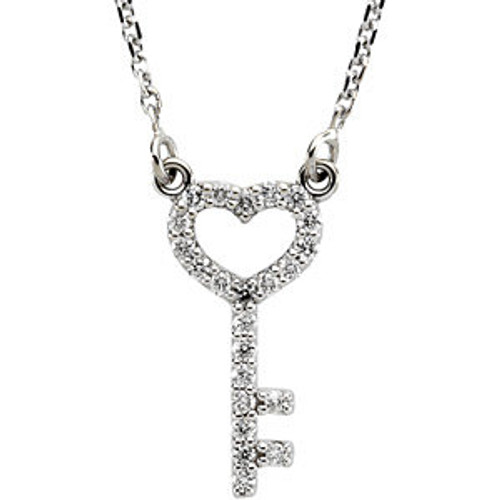 "14K White Gold Diamond Heart Key Pendant 16"" Chain"