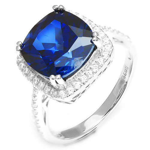 .925 Sterling Silver Created Blue & White Cushion Cut Halo Ring