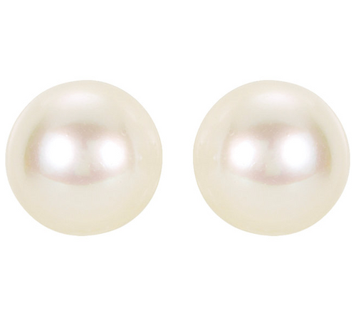 14K White Gold 8mm Akoya White Cultured AA Pearl Stud Earrings