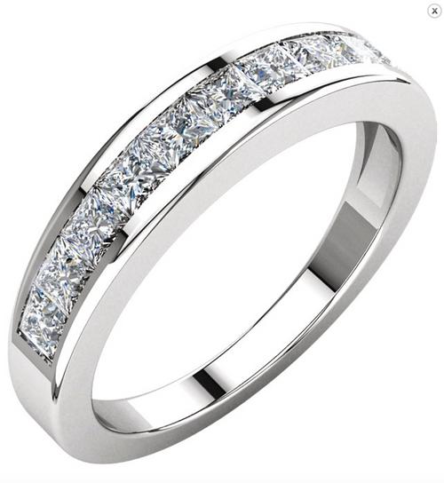 14K White or Yellow Gold 1CTTW Princess Cut Diamond Channel Set Wedding Band
