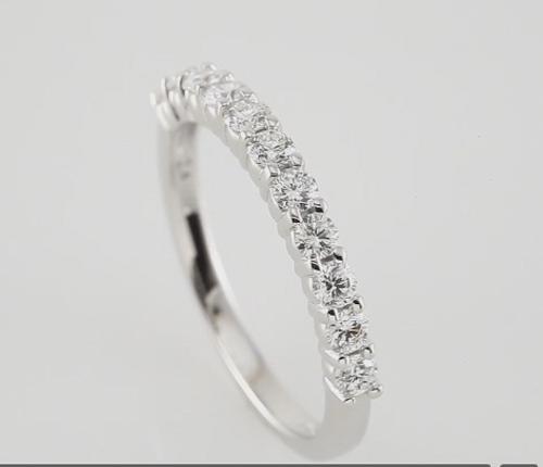 14K White 1/2CTTW Round Cut Diamond 11 Stone Prong Set Wedding Band