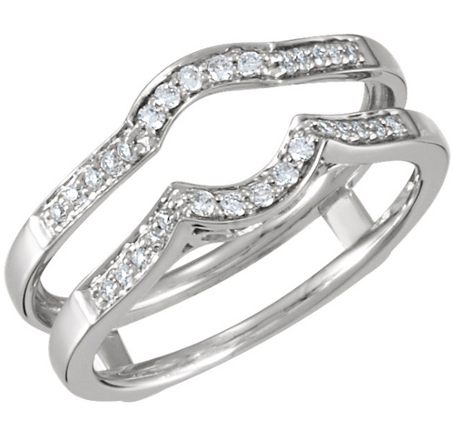 14kt White 1/5 CTW Diamond Drop in Guard Ring