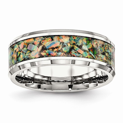 8mm Mens Stainless Steel Imitation Opal Inlay Wedding Band - WOW