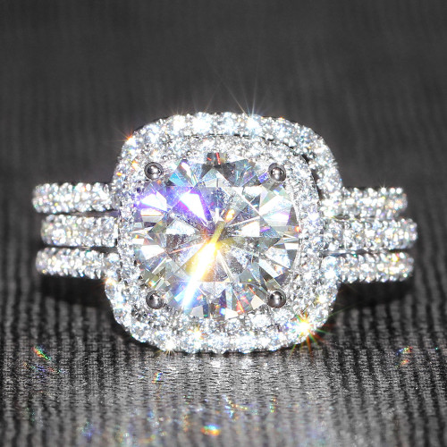The Leia Ring Series - 14K White Gold 4CTTW 3CT Eternal Moissanite Round Brilliant Cut Halo Wedding Engagement Ring & 2 Curved Form Fit Bands - VIDEO BELOW