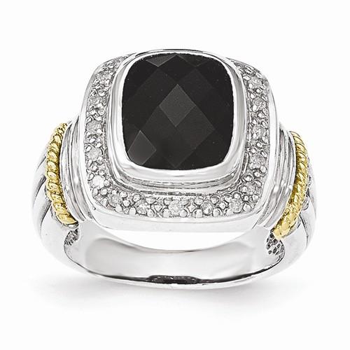 Shey Couture™ Sterling Silver W/14k Black Onyx W/Diamond Ring