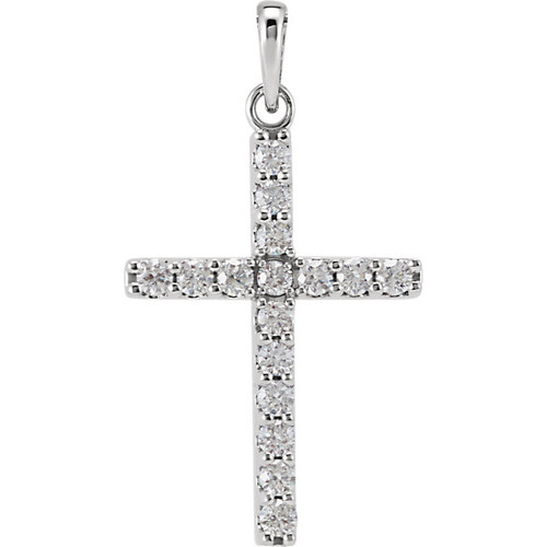 "14K White Gold 1/2CTTW Diamond Cross Pendant w/ 18"" Cable Chain"