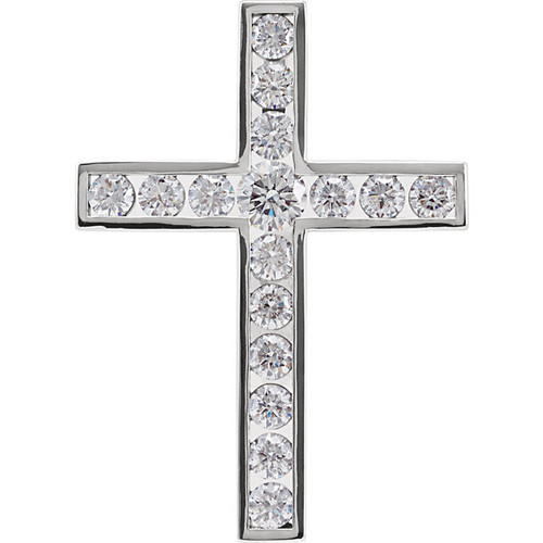 "14K White Gold 1/2CTTW Diamond Cross Pendant Channel Set w/ 18"" Cable Chain"