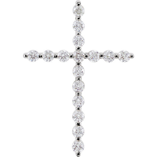 "14K White Gold 1/2CTTW Diamond Cross Pendant Prong Set w/ 18"" Cable Chain"