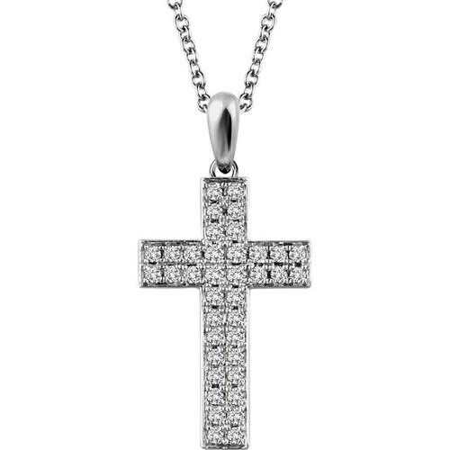 "14K White Gold 1/4CTTW Diamond Cross Pendant w/ 18"" Cable Chain - STUNNING!"