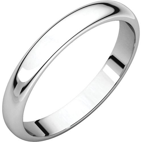 14K White Gold 3mm Plain Polished Half Round Wedding Band