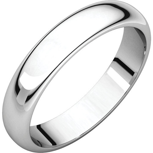 14K White Gold 5mm Plain Polished Half Round Wedding Band