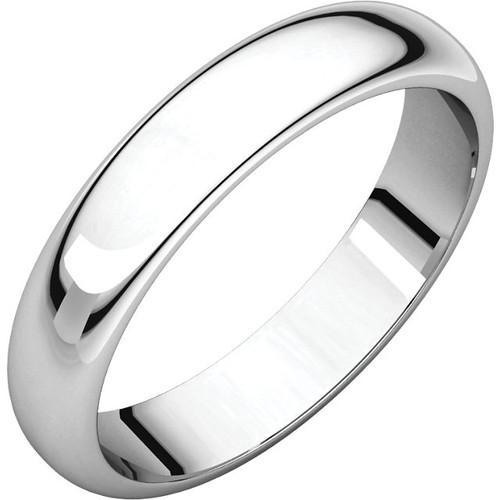 14K White Gold 5mm Plain Polished Half Round Wedding Band