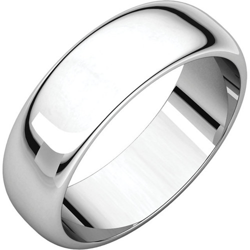 14K White Gold 6mm Plain Polished Half Round Wedding Band