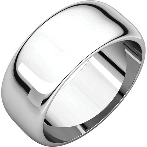 14K White Gold 8mm Plain Polished Half Round Wedding Band