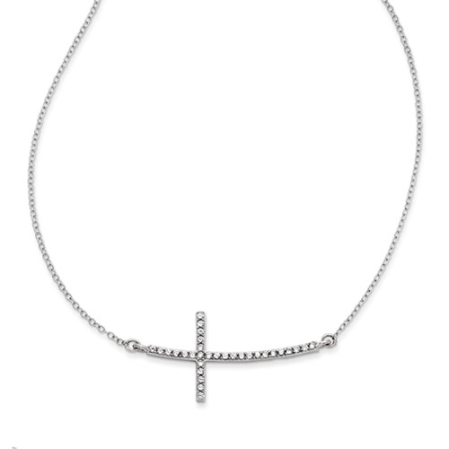 14k White Gold Sideways Cross CZ Necklace 18""