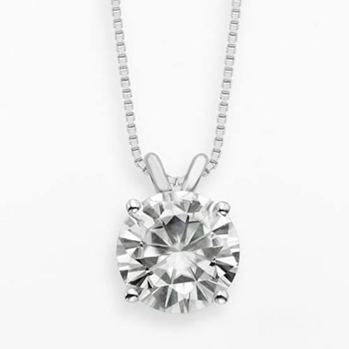1CT Round Brilliant Forever Brilliant Moissanite Solitaire Pendant Necklace