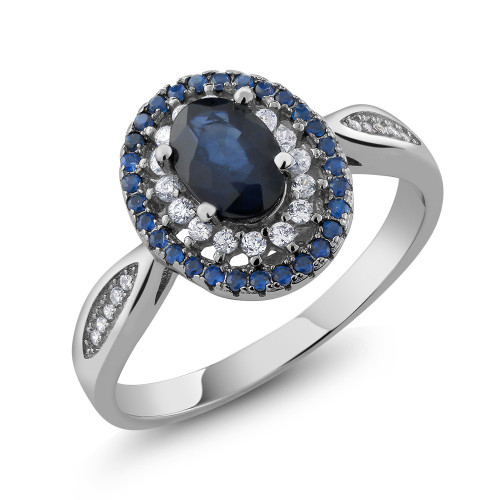 Sterling Silver .925 Genuine Oval Blue Sapphire Right Hand Ring
