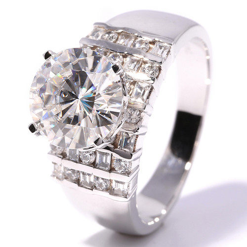 Forever One 4 Carat Round Brilliant Cut Moissanite Wedding Engagement Set In14K White Gold