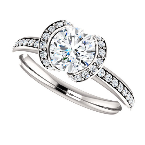 The Paige Forever One Moissanite Solitaire Engagement Ring Half Bezel Set