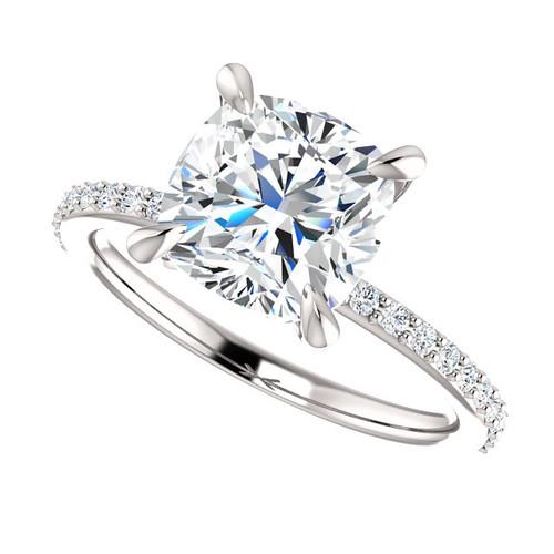 The Charlene 3.30CT NEO Moissanite Cushion Cut & Diamond Solitaire Engagement Ring