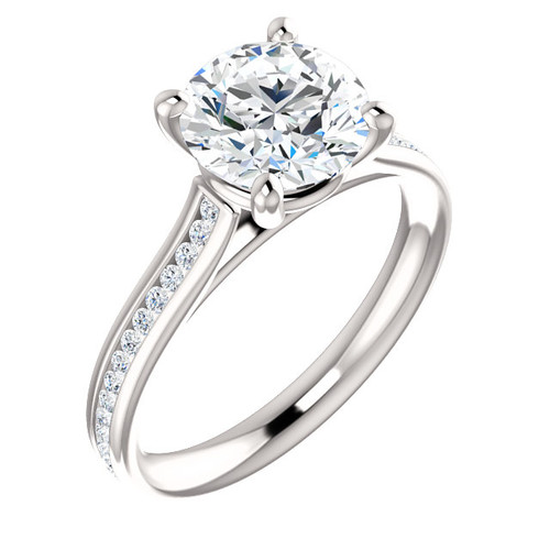 The Bliss Ring Series - 8mm = 2CT NEO Moissanite Round Cut & Diamond Engagement Ring