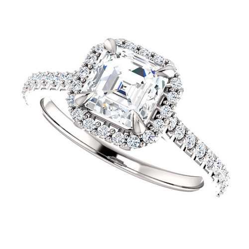 The Dianna 1.30CT = 6.5mm Forever One Asscher Cut Moissanite & Diamond Halo Solitaire Engagement Ring