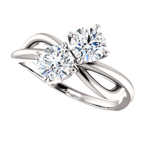 Two Stone NEO Moissanite 1 CTW Round Cut Engagement Anniversary Ring
