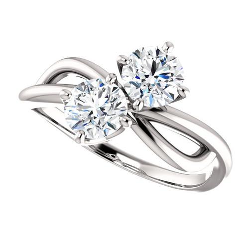 Two Stone NEO Moissanite 1 CTW Round Cut Engagement Anniversary Ring