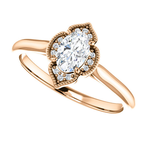 The Peneolpe  - NEO Moissanite .50CT Oval Cut Vintage Designed Halo Petite Engagement Ring w/ Diamond Accents