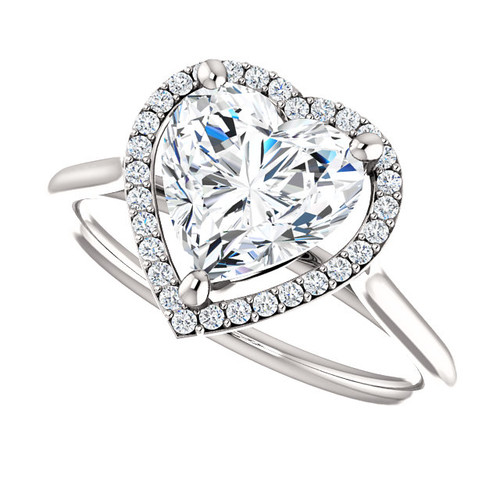 The Lopez Ring Series NEO Moissanite Heart Shaped & Diamond Halo Engagement Ring