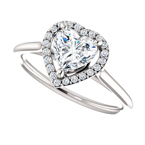 The Lopez Ring Series NEO Moissanite Heart Shaped .80CT & Diamond Halo Engagement Ring
