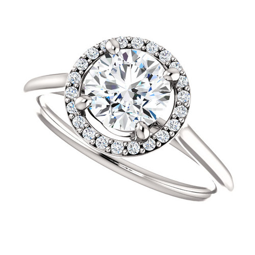 The Lopez Ring Series - NEO Moissanite Round Brilliant Cut 1CT & Diamond Halo Engagement Ring