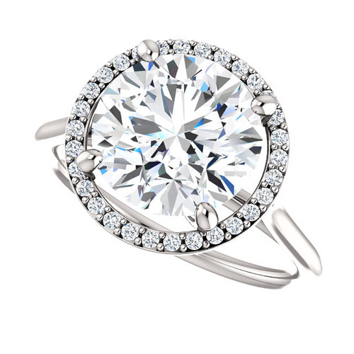 The Lopez Ring Series - NEO Moissanite Round Brilliant Cut 3.10CT & Diamond Halo Engagement Ring