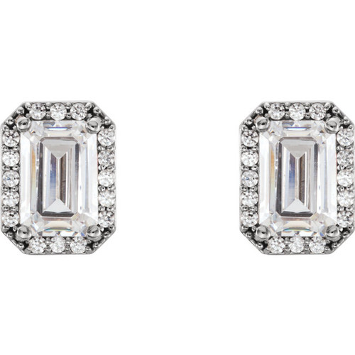 1.20CTW = 6mm X 4mm Stud Earring NEO Moissanite Emerald Cut & Diamond Halo