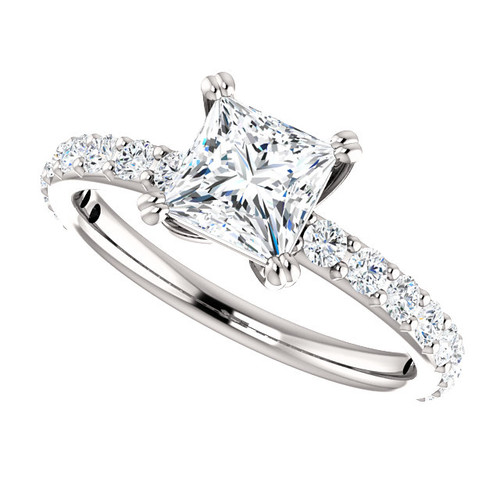 The Beverly 2 Forever One Moissanite 1.05CT Princess Cut Solitaire Engagement Ring