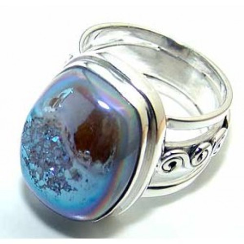 .925 Sterling Silver Coated Druzy Cushion Cab Ring