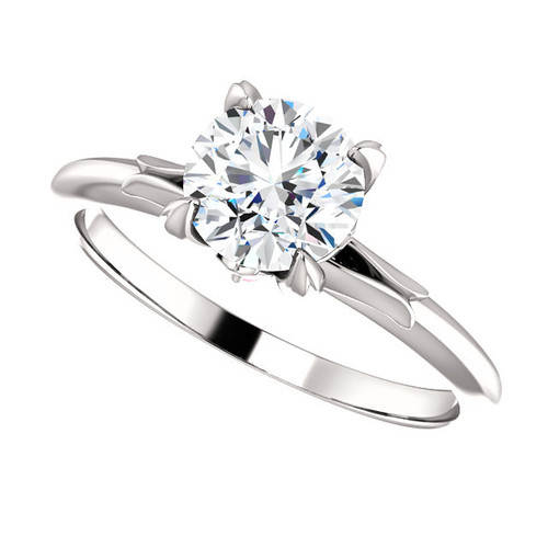 The Liza Forever One Moissanite 1CT Round Cut Solitaire Engagement Ring w Pink Sapphire Accents