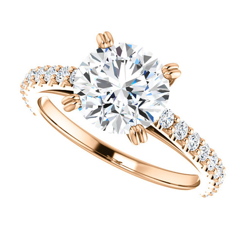 """The Grace Ring Series - 2CT NEO Moissanite Round """"Diamond Cut"""" & Diamond Engagement Cathedral Style Ring - VIDEO BELOW"""