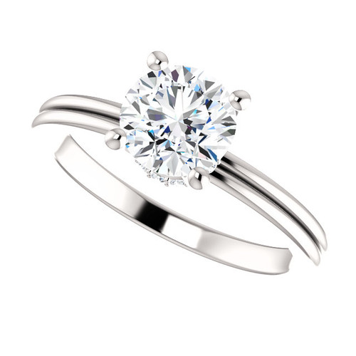 """The Lilly 1CT NEO Moissanite Round """"DIAMOND CUT"""" Cut & Diamond Collar Grooved Shank Engagement Ring"""