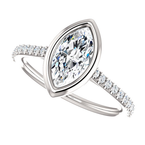 The Addison Ring Series - Bezel Set NEO Moissanite 1CT Center Marquise Cut Engagement Wedding Ring with Diamond Accents