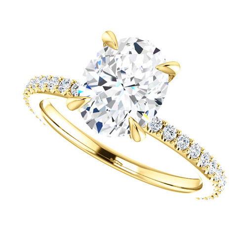 The Skyler Ring Series - Forever One Moissanite 2.26CT Oval Cut Engagement Ring With Diamond Collar & Accents!