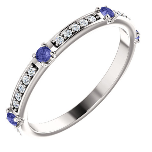 14K White Gold Diamond & Tanzanite Wedding Anniversary Band - Stackable