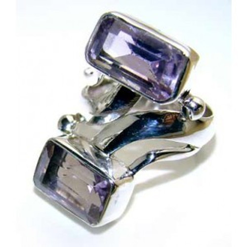 .925 Sterling Silver Double Emerald Cut Amethyst Ring