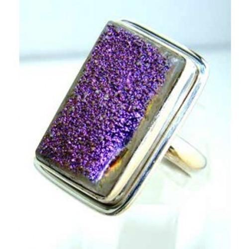 .925 Sterling Silver Druzy Ring
