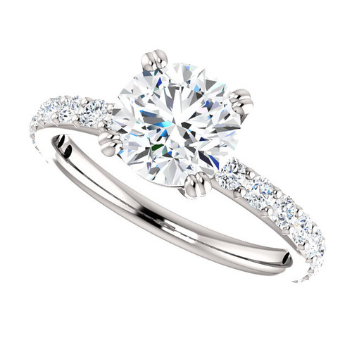 "The Beverly NEO Moissanite 2CT Round ""Diamond Cut"" With Diamond Accents Solitaire Engagement Ring"