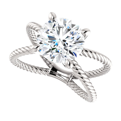 "The Jen Ring Series - NEO Moissanite 3CT Center Round ""Diamond Cut"" - SEE VIDEO BELOW"
