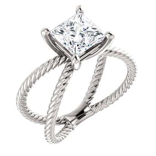 The Jen Ring Series - Eternal Moissanite 1.50CT Center Princess Cut Engagement Ring