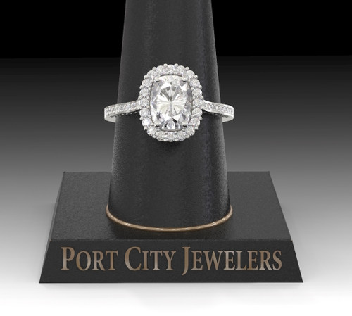 The Gillian Ring - Eternal Moissanite Cushion Cut With Diamond Sides & Halo Engagement Ring